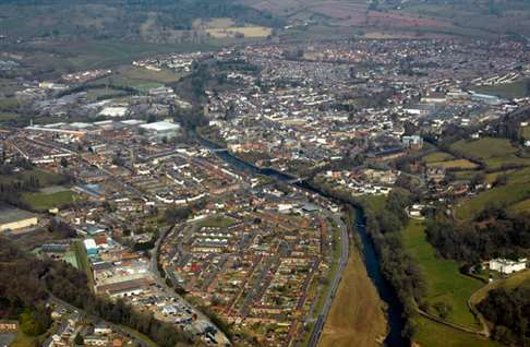 Aerial photograph of Tiverton